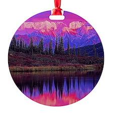 Wonder Lake at Sunset Round Ornament
