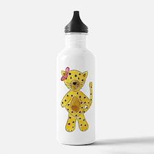 Cheetah Pink Bow Water Bottle