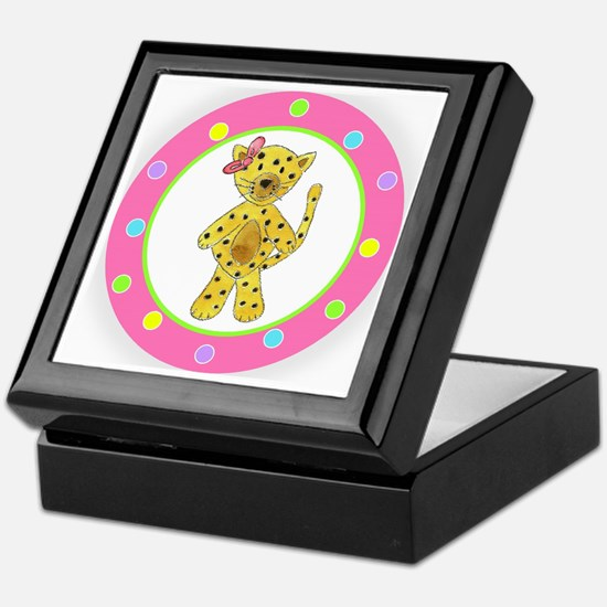 Cheetah Pink Bow Polka Dots Keepsake Box