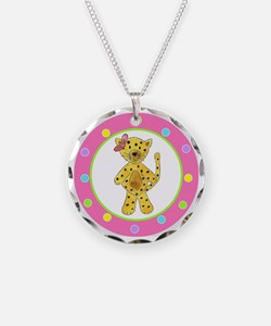 Cheetah Pink Bow Polka Dots Necklace