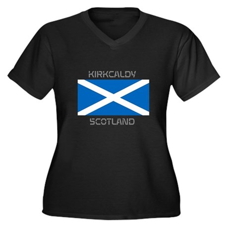 Kirkcaldy Scotland Women's Plus Size V-Neck Dark T