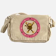 Tumbling Monkey Pink Bow Polka Dots Messenger Bag