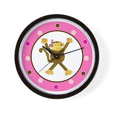 Tumbling Monkey Pink Bow Polka Dots Wall Clock