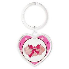 Tutu Polka Dots Heart Keychain