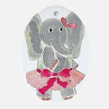 Tutu Elephant Oval Ornament