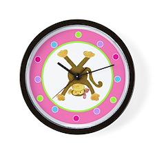 Tumbling Monkey Pink Bow Upside Down Po Wall Clock