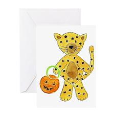 Halloween Cheetah Pumpkin Greeting Card