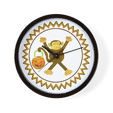 Halloween Tumbling Monkey Pumpkin Zig Z Wall Clock