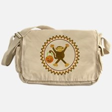 Halloween Tumbling Monkey Pumpkin Zi Messenger Bag
