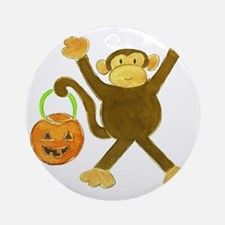 Halloween Tumbling Monkey Round Ornament