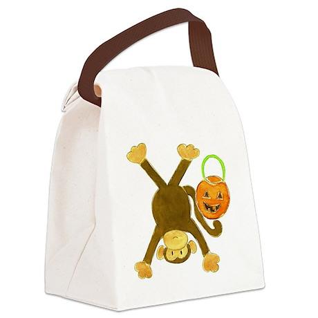 Halloween Tumbling Monkey Upside Canvas Lunch Bag