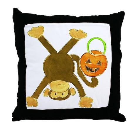 Halloween Tumbling Monkey Upside Down Throw Pillow