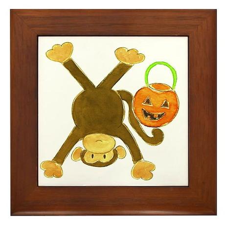 Halloween Tumbling Monkey Upside Down Framed Tile