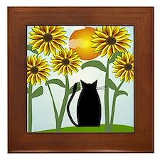 Sunflowers and Cat 2 Framed Tile