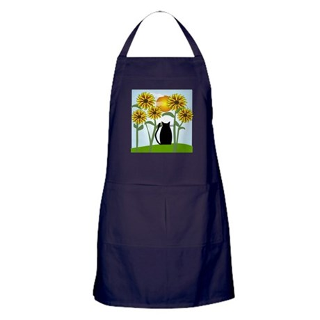 Sunflowers and Cat 2 Apron (dark)
