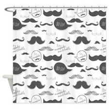 Mustache French Grey Shower Curtain