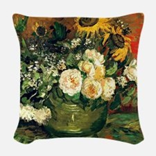 Van Gogh - Still Life with Ros Woven Throw Pillow