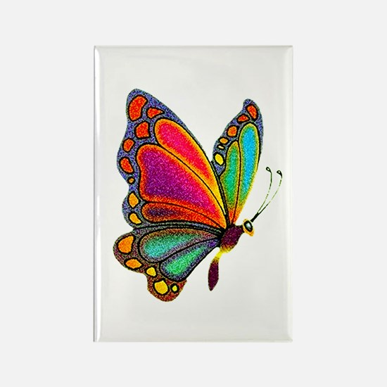 Rainbow Butterfly Rectangle Magnet