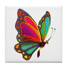 Rainbow Butterfly Tile Coaster