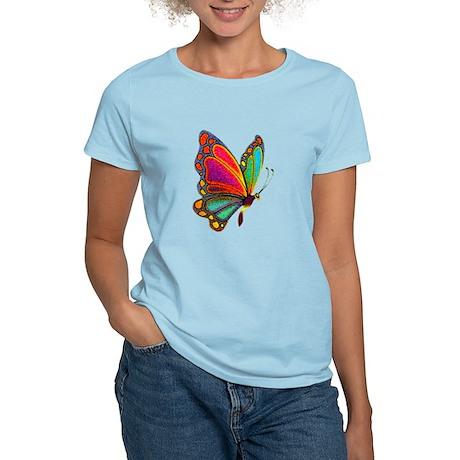 Rainbow Butterfly Women's Pink T-Shirt