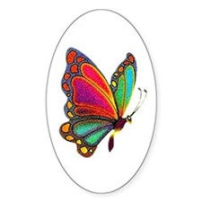 Rainbow Butterfly Oval Bumper Stickers