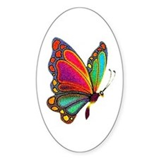 Rainbow Butterfly Oval Stickers