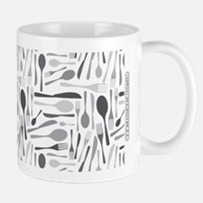 Fork and Knives Kitchen Chef Pattern Grey Mugs