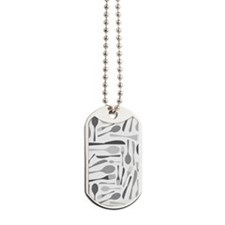 Fork and Knives Kitchen Chef Pattern Grey Dog Tags