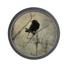 Halloween Crow Wall Clock