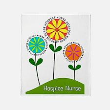 Hospice Nurse Flowers Throw Blanket