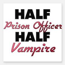 Half Prison Officer Half Vampire Square Car Magnet