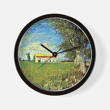 Van Gogh: Farmhouse in Wheatfield, 1888 Wall Clock