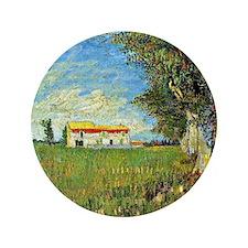 """Van Gogh: Farmhouse in Wheatfield, 188 3.5"""" Button"""