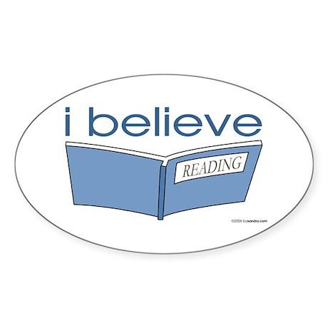 I believe in reading Oval Sticker