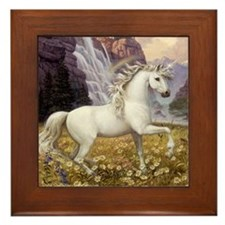 Unicorn Rainbow Framed Tile