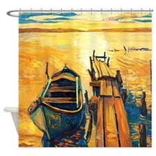 Boat and Pier Painting Shower Curtain