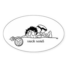 Suck Sand Volleyball Oval Decal