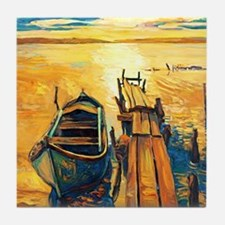 Boat and Pier Painting Tile Coaster