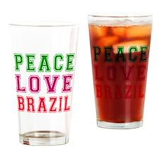 Peace Love Brazil Drinking Glass