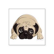 "Pug Square Sticker 3"" x 3"""