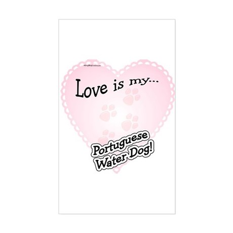 Love is my Portugese Water Dog Sticker (Rectangula