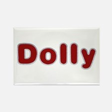 Dolly Santa Fur Rectangle Magnet