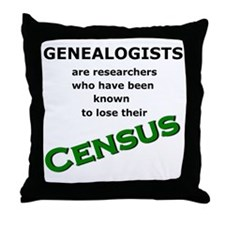 Genealogy Losing Census (Green) Throw Pillow