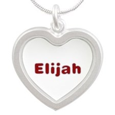 Elijah Santa Fur Silver Heart Necklace