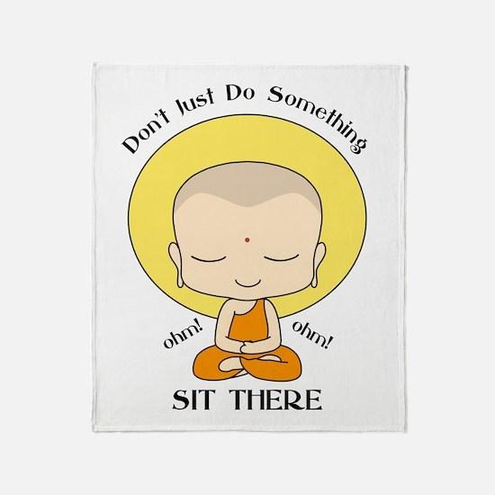 Meditation Yoga Buddhist Monk Throw Blanket