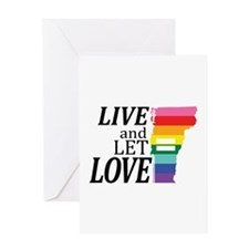 Vermont equality live love blk font Greeting Cards