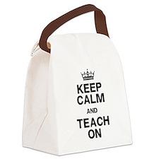 Keep Calm Teach On Canvas Lunch Bag