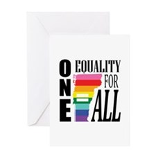 Vermont one equality blk font Greeting Cards