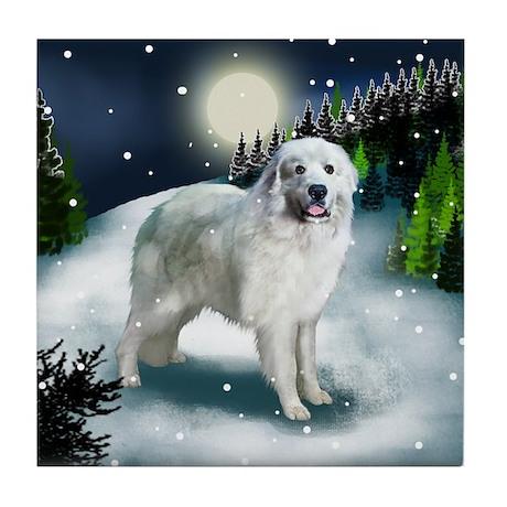 GREAT PYRENEES DOG SNOW Tile Coaster