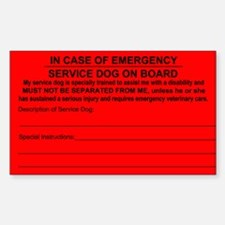 Service Dog on Board In case of Emergency Bumper Stickers